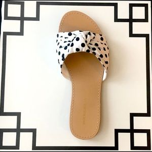 Retro Polka Dot Knotted Bow Mule Sandals - White